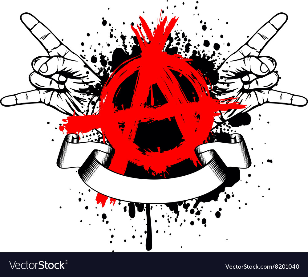 Symbol anarchy and gesture hands vector image
