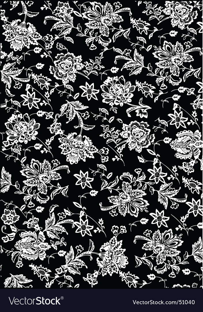 White and black flower pattern vector image