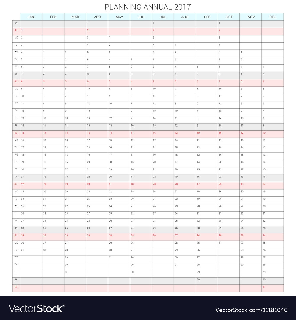 Yearly Calendar Planner Template for 2017 vector image