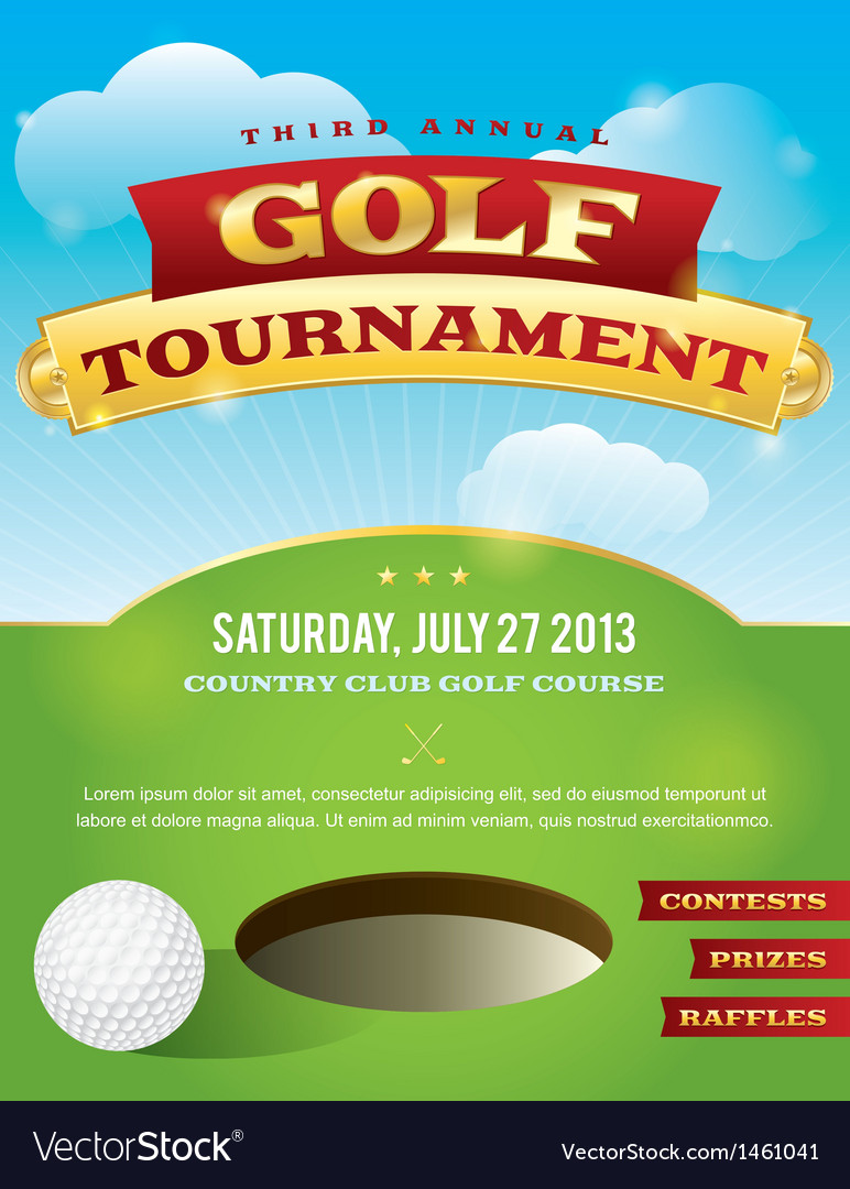 Golf Tournament Invitation Design vector image