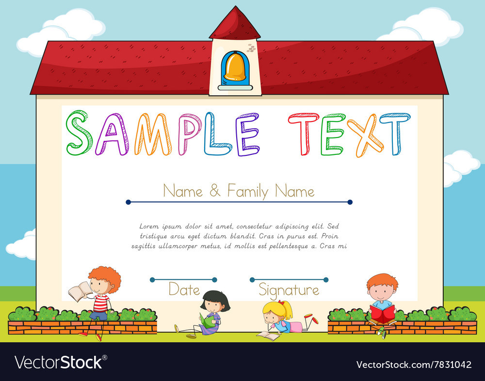 Certificate template with kids in automotive electrical circuits certificate template with children on background vector image certificate template with children on background vector 7831042 xflitez Images