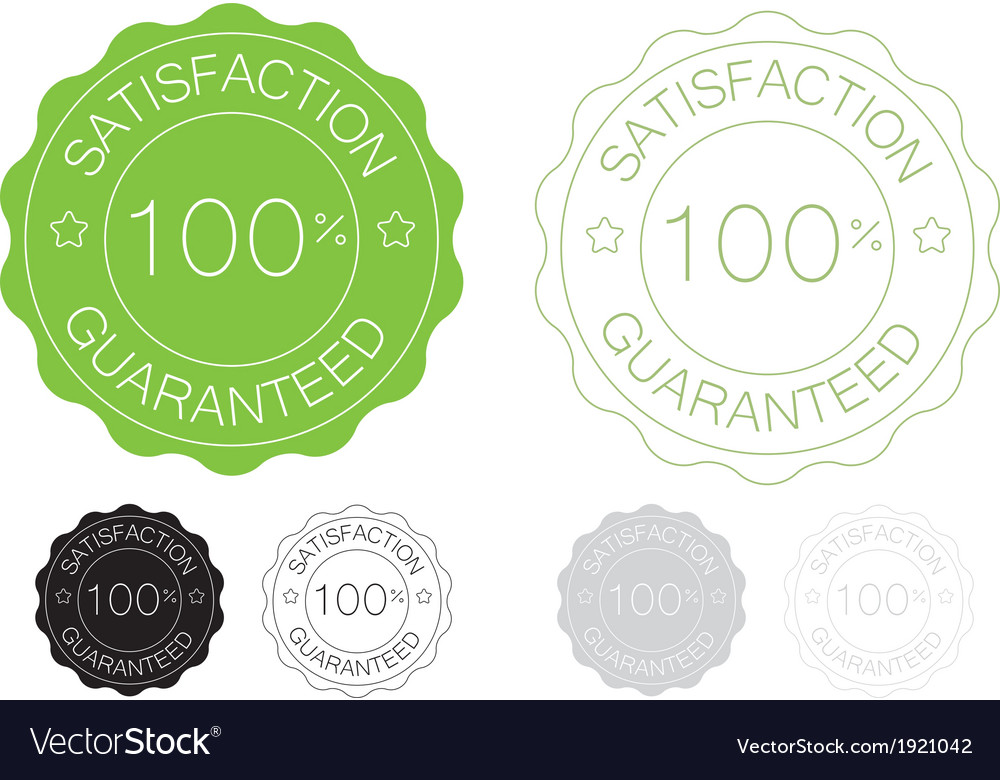 Green satisfaction guaranteed seal design set vector image