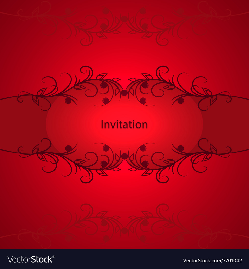 Vintage invitation card on red background vector image stopboris Image collections