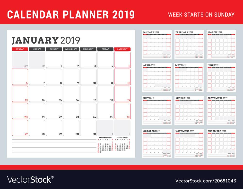 Calendar Planner Vector Free : Calendar planner for year week starts on vector image