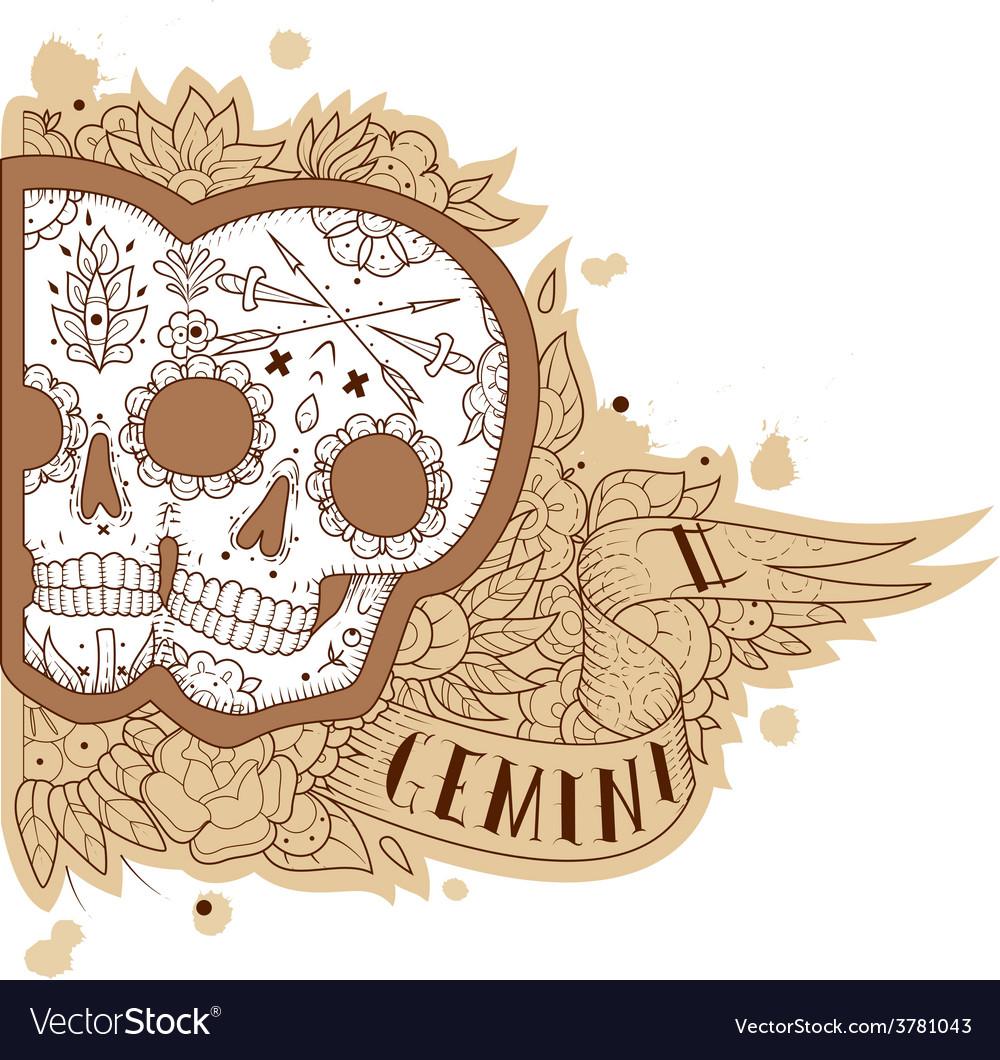 Engraving gemini vector image