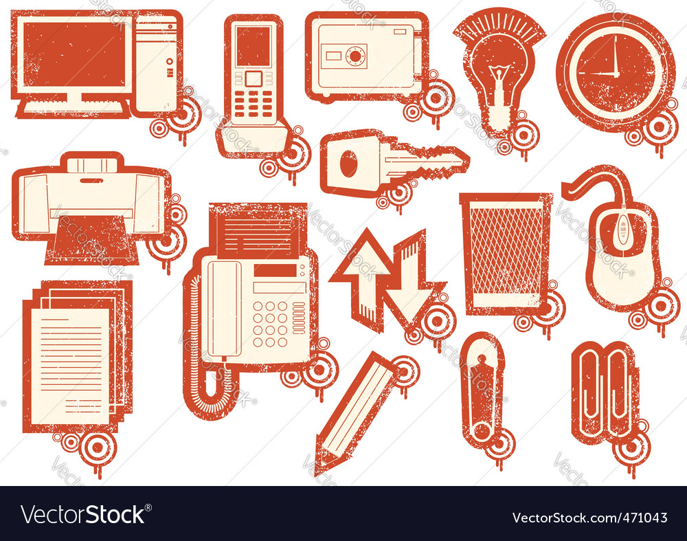 Stationary icons vector image
