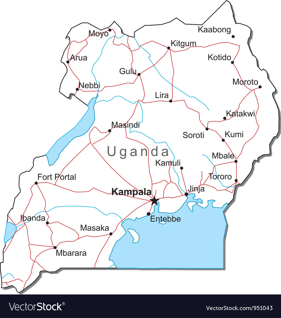 Uganda black white map royalty free vector image uganda black white map vector image gumiabroncs Images