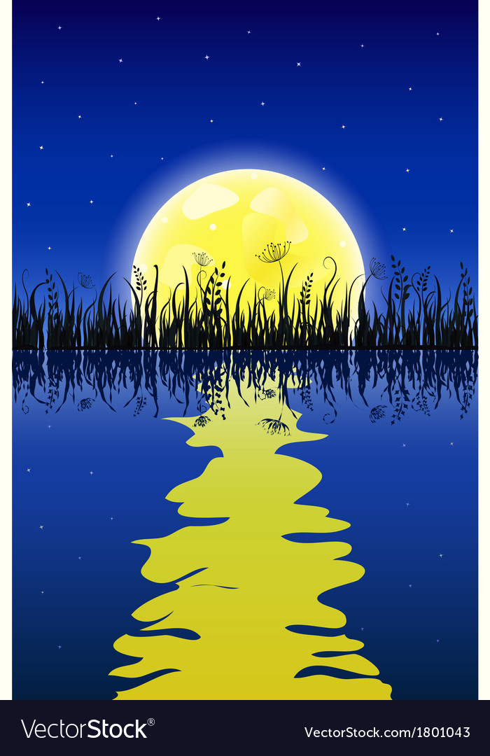 Yellow moon with reflection at water and grass vector image