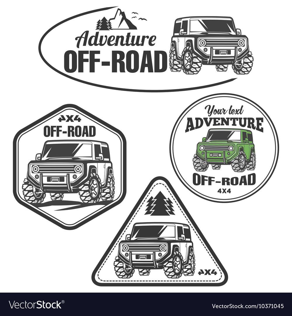 Car Off Road Suv Trophy Truck Logo Set Vector Image