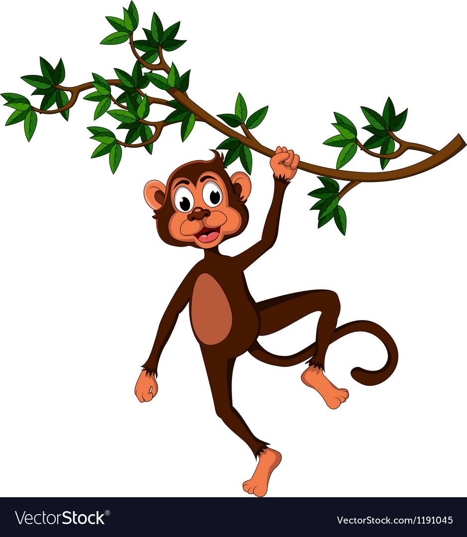 Cute monkey on a tree vector image