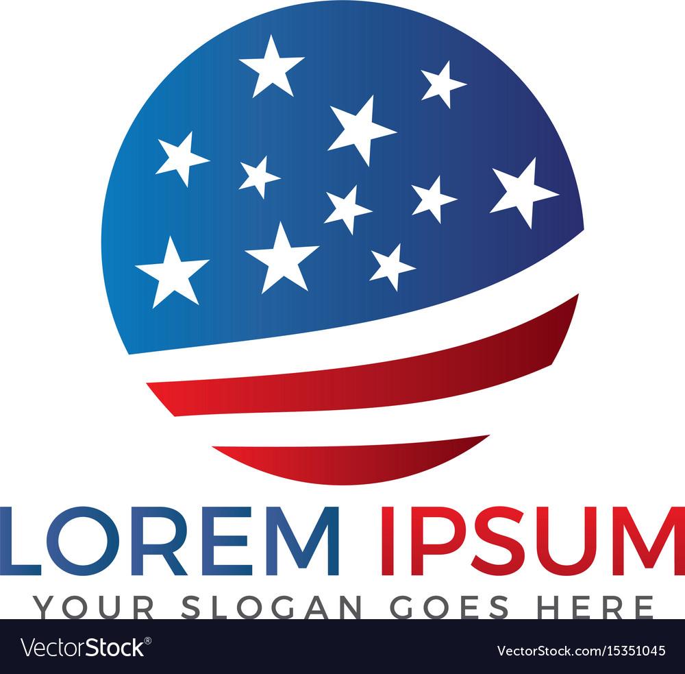 Usa flag travel logo design vector image