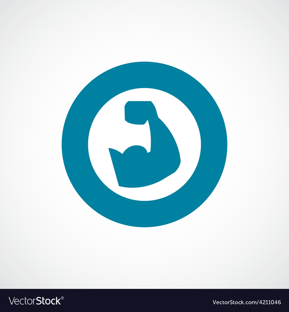 Muscle arm icon bold blue circle border vector image