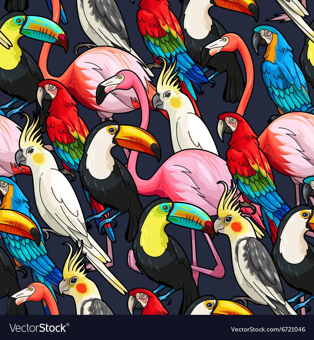 Seamless exotic birds vector image