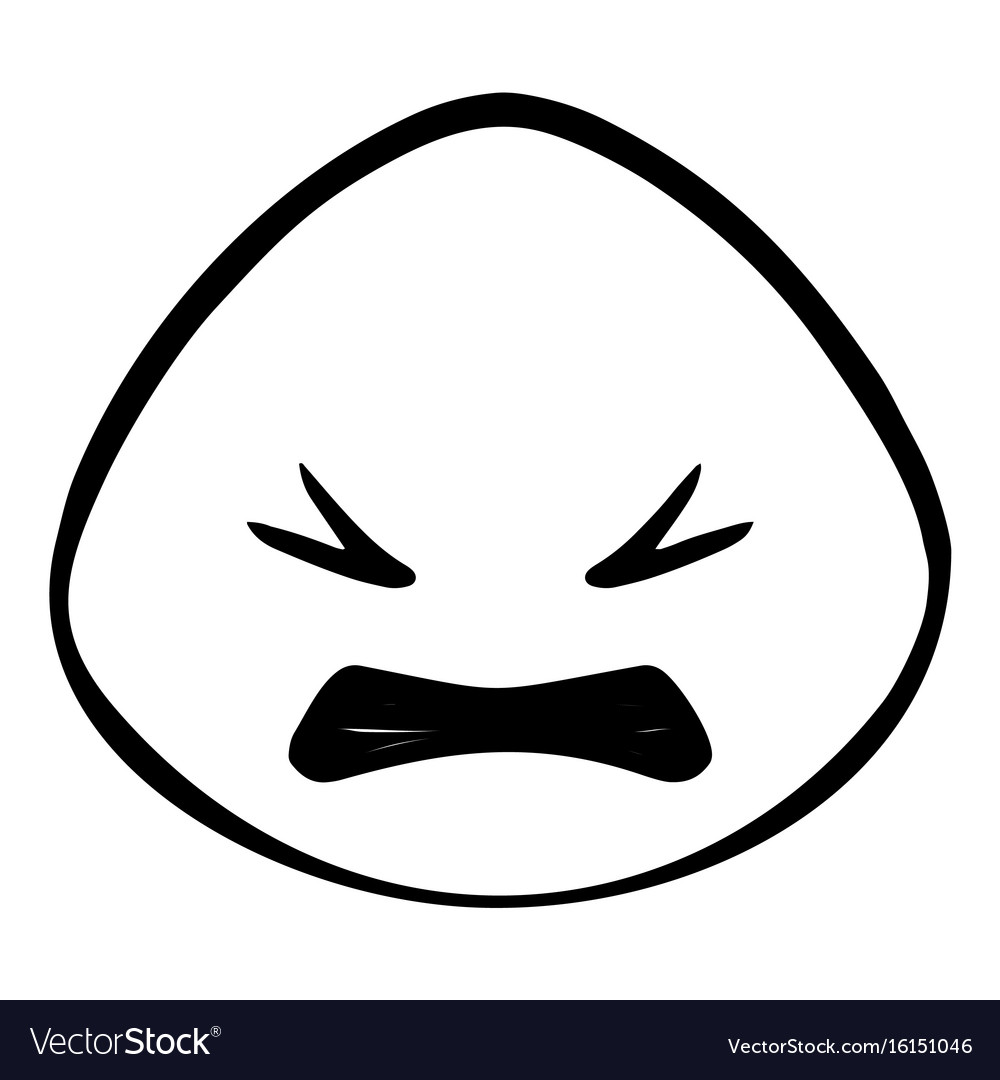 Thin line angry face icon vector image
