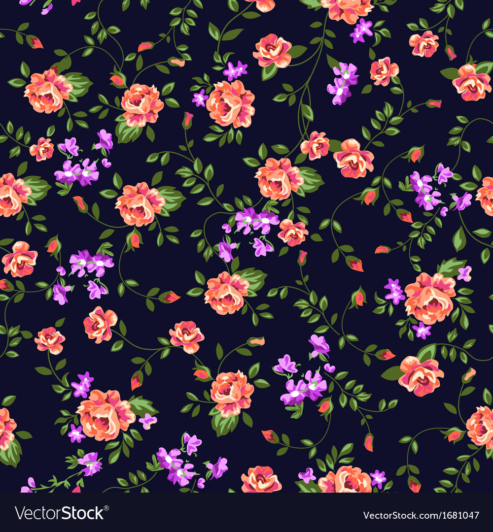 Classical roses seamless pattern vector image