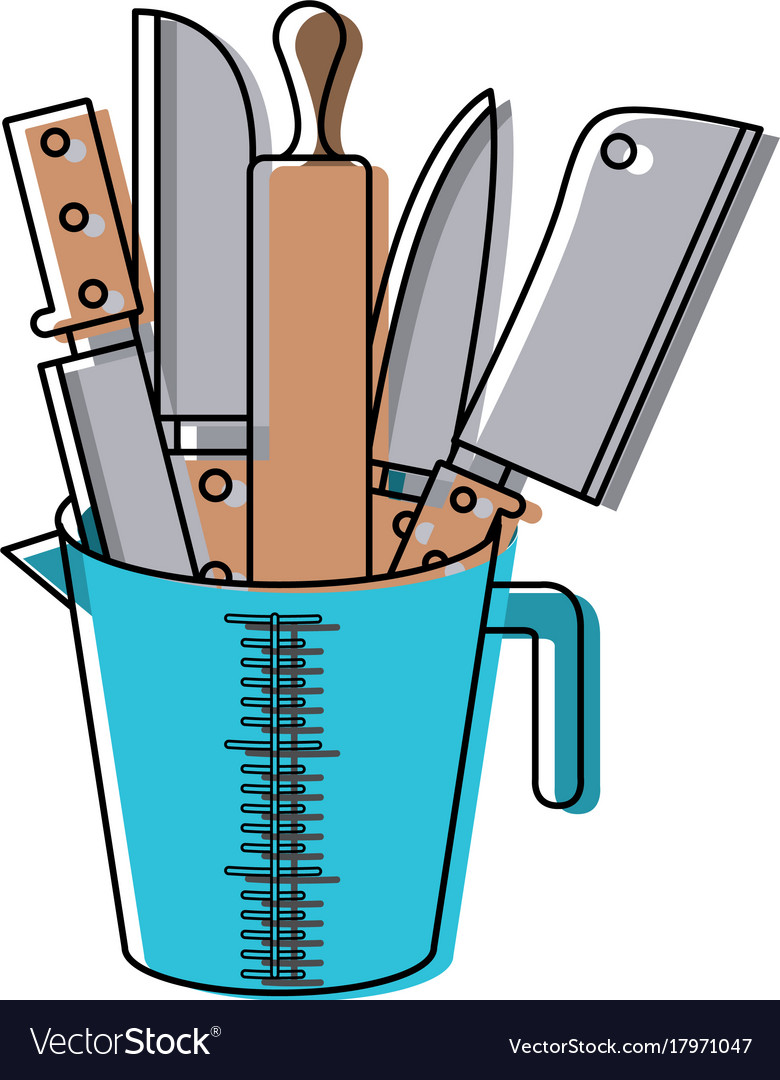 Container with knives and rolling pin colorful vector image