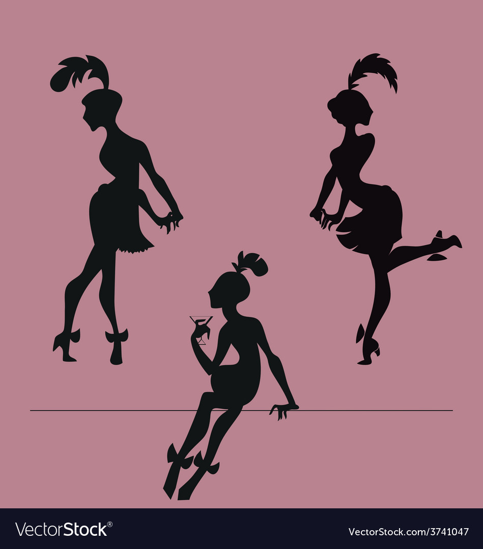 Silhouette of roaring 20s flappers girl vector image