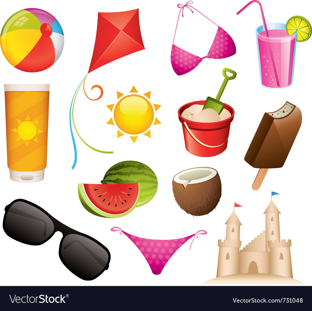 Summer icons vector image