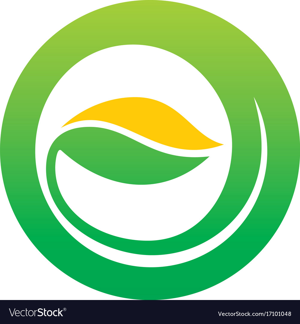 Green leaf abstract round organic logo vector image