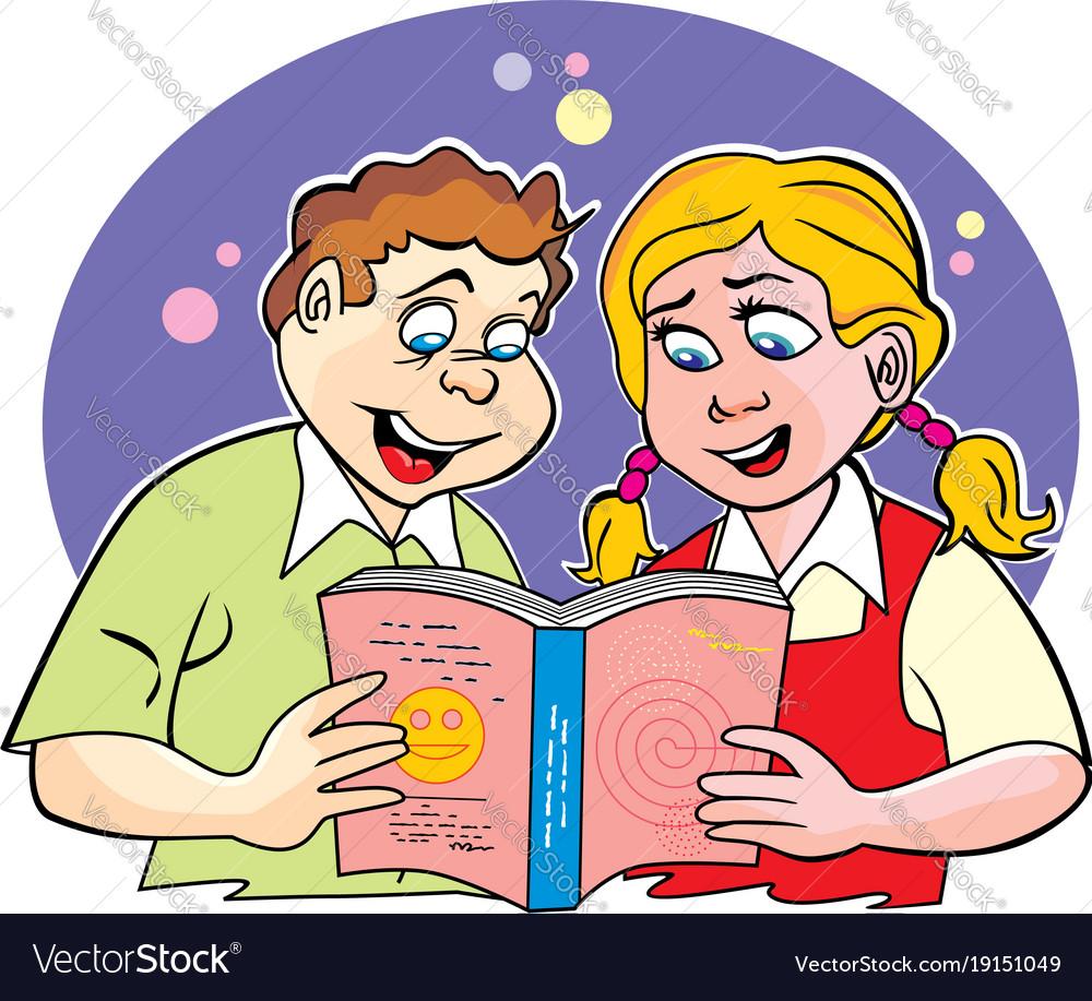 Children studying vector image