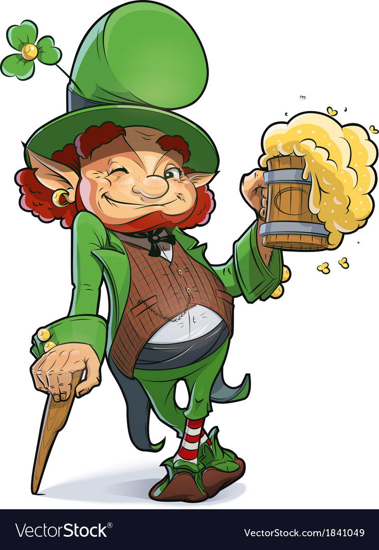 Dwarf with beer vector image