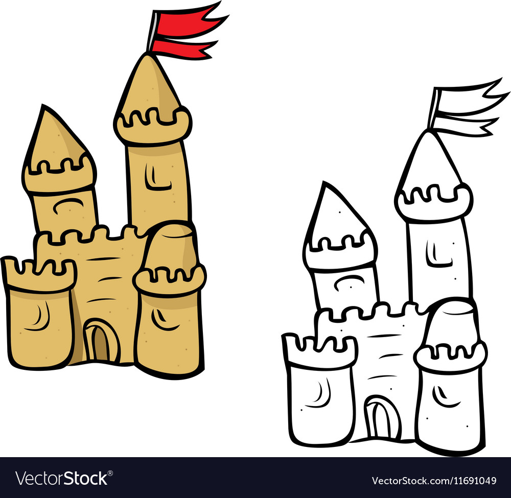 Sandcastle coloring book vector image