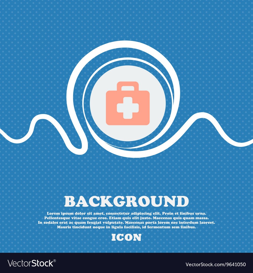 First aid kit sign icon Blue and white abstract vector image