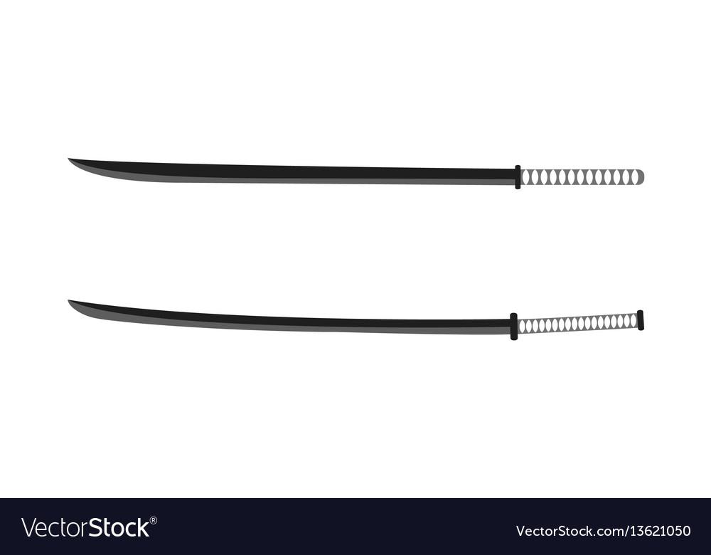 Japanese katana samurai isolated weapons vector image
