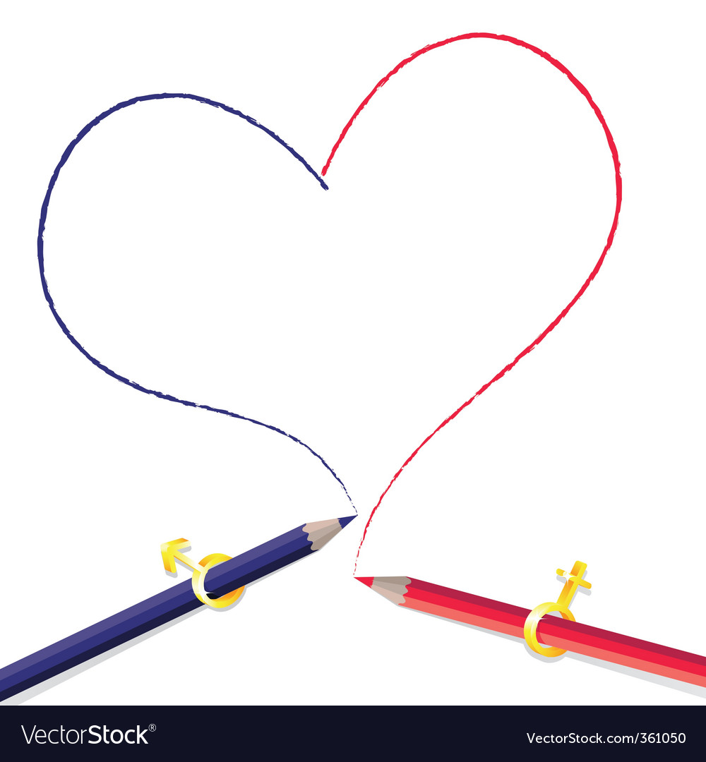 Pencils drawing heart vector image