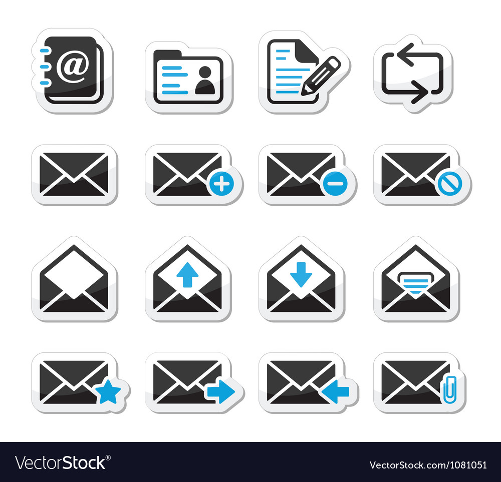 Email mailbox icons set as labels vector image