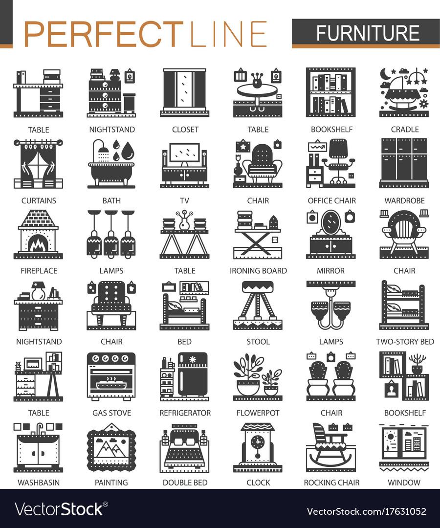 Furniture interior classic black mini concept vector image