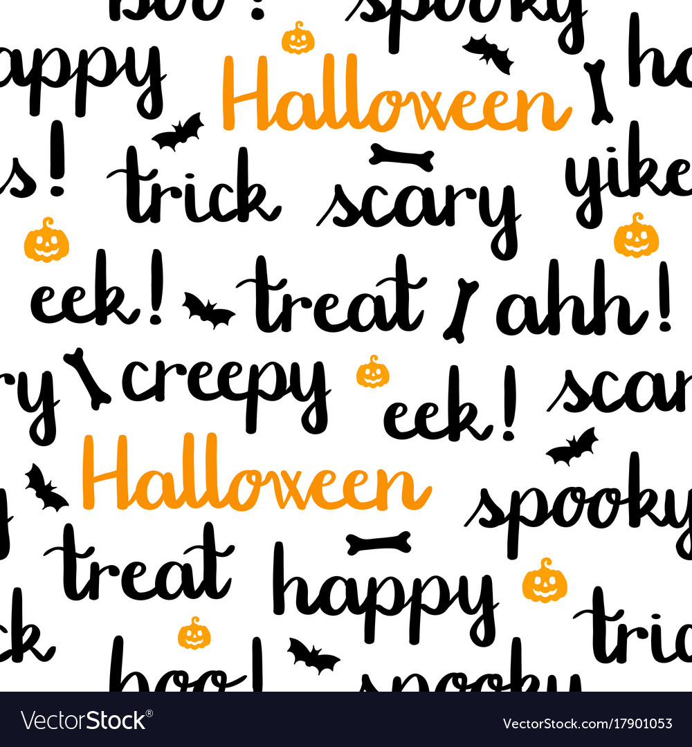 Halloween words lettering seamless pattern white Vector Image
