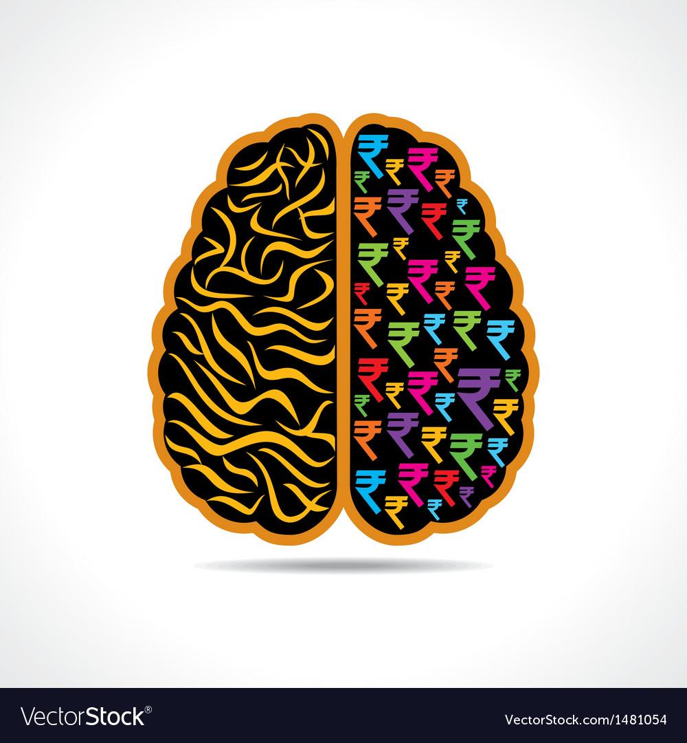 Conceptual idea brain with rupee symbol vector image conceptual idea brain with rupee symbol vector image biocorpaavc