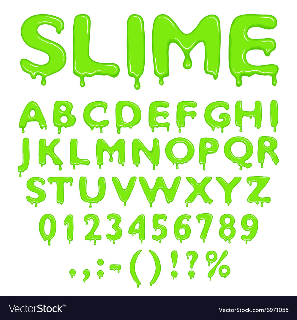 Slime alphabet numbers and symbols Royalty Free Vector Image