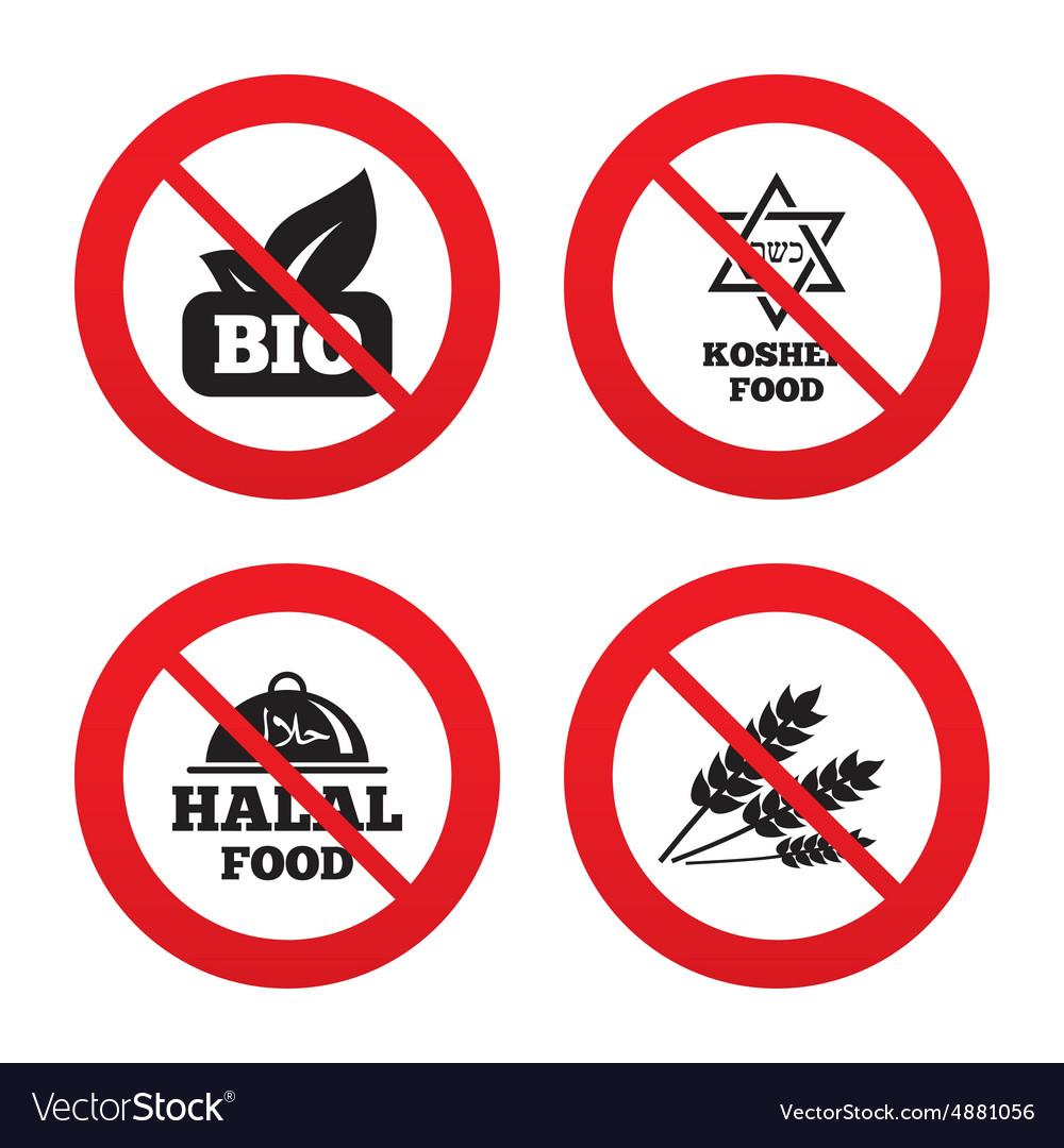 Natural bio food icons halal and kosher signs vector image natural bio food icons halal and kosher signs vector image buycottarizona
