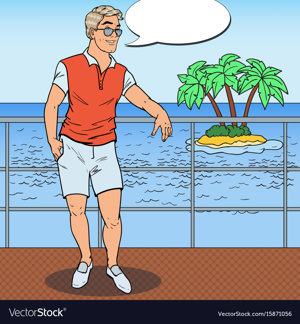 Pop art handsome man relaxing on private yacht vector image
