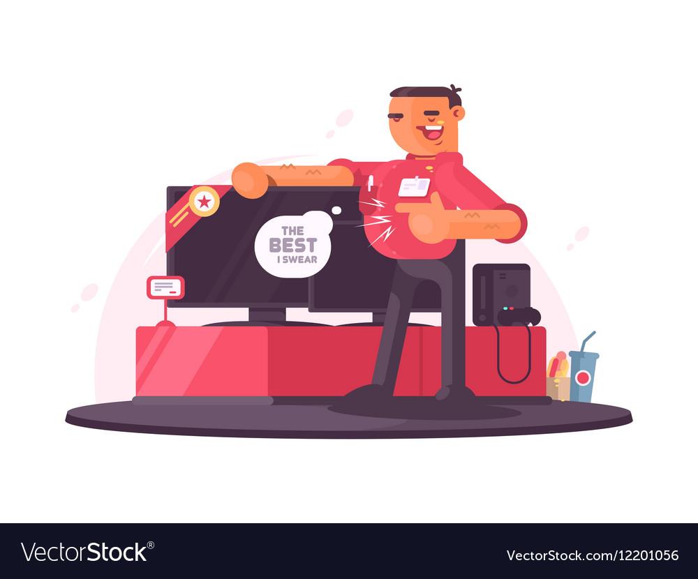 Successful salesman in electrical shop vector image