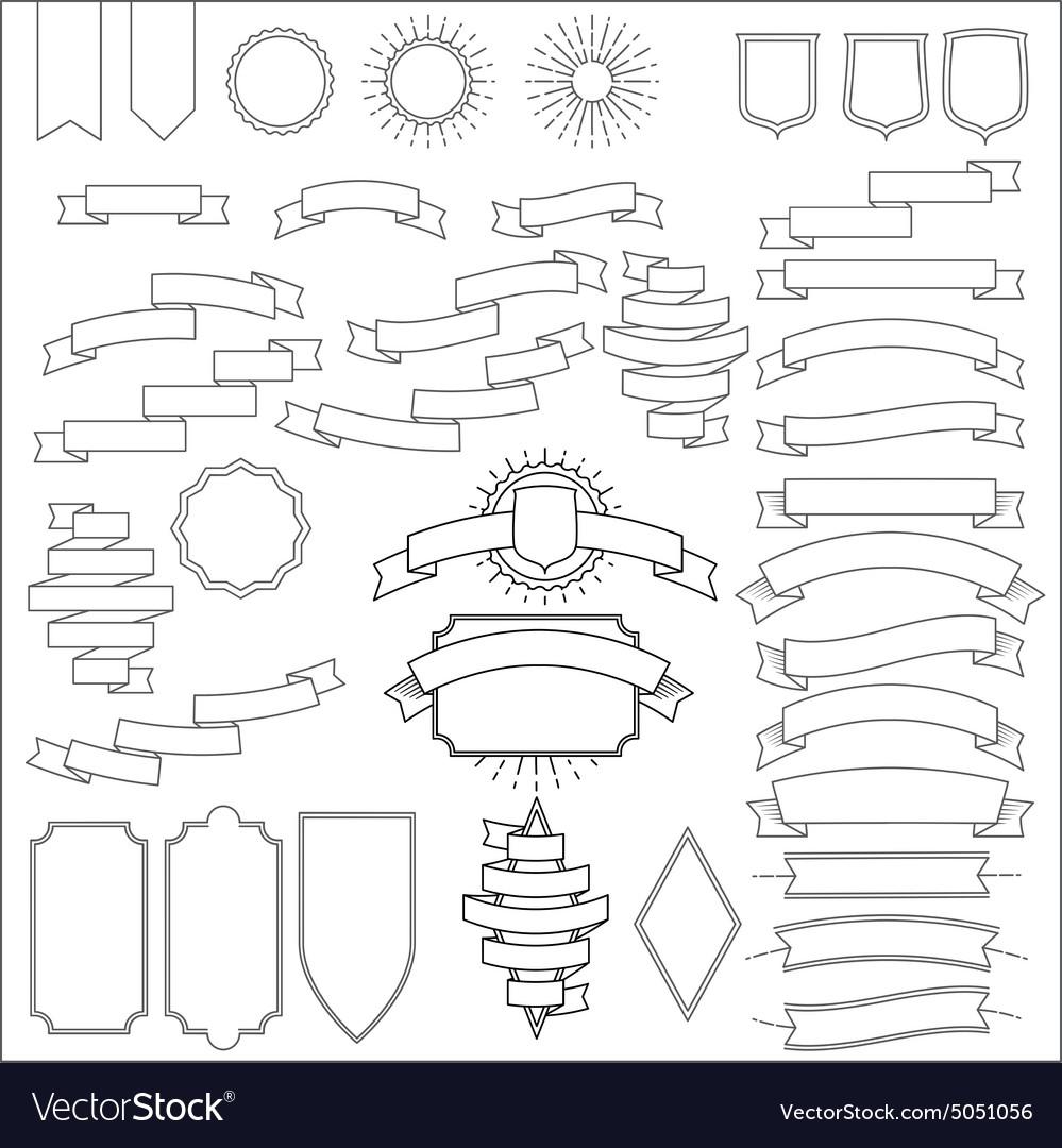 Thin Line Ribbons Set vector image