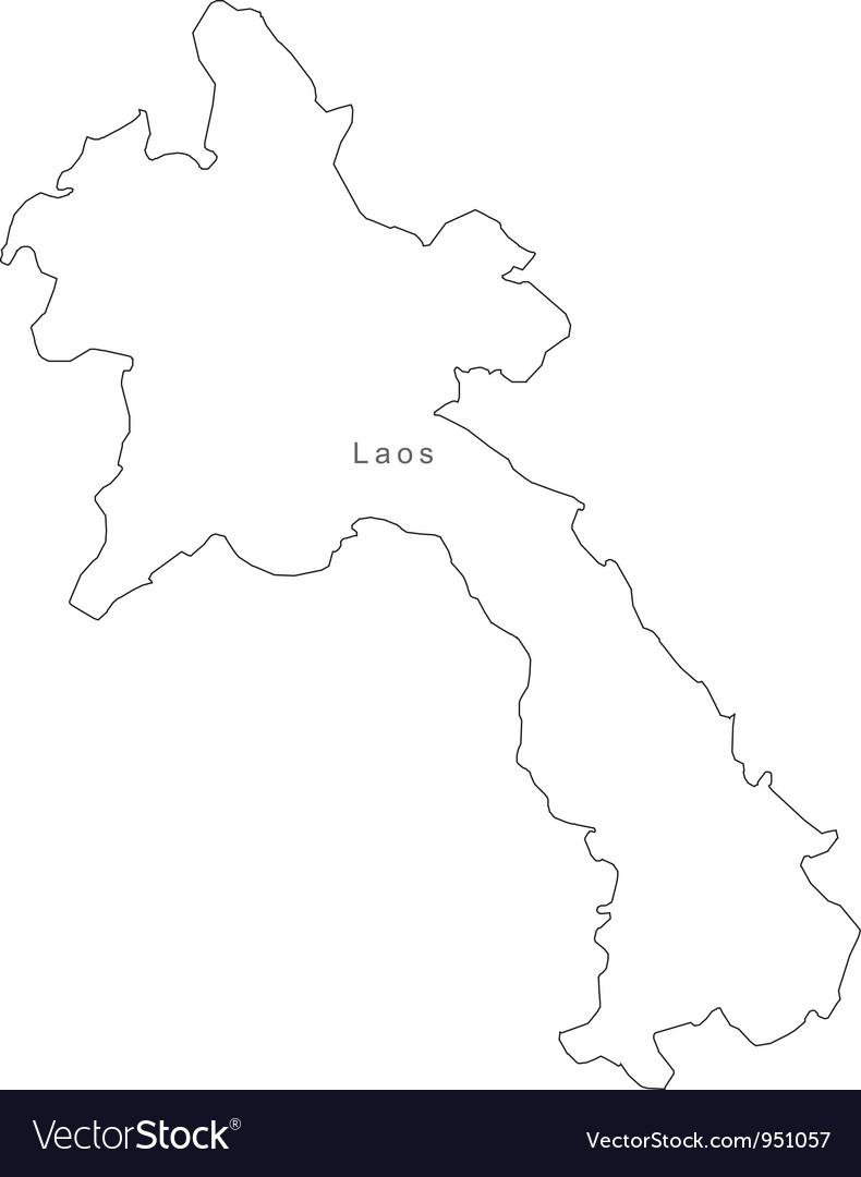 Black White Laos Outline Map Royalty Free Vector Image - Laos map vector