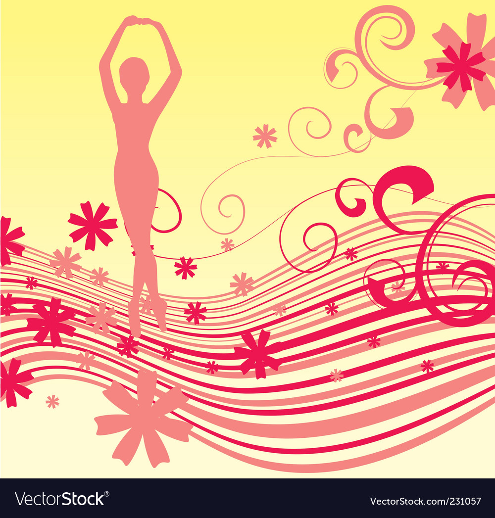 Red flowers wave girl vector image