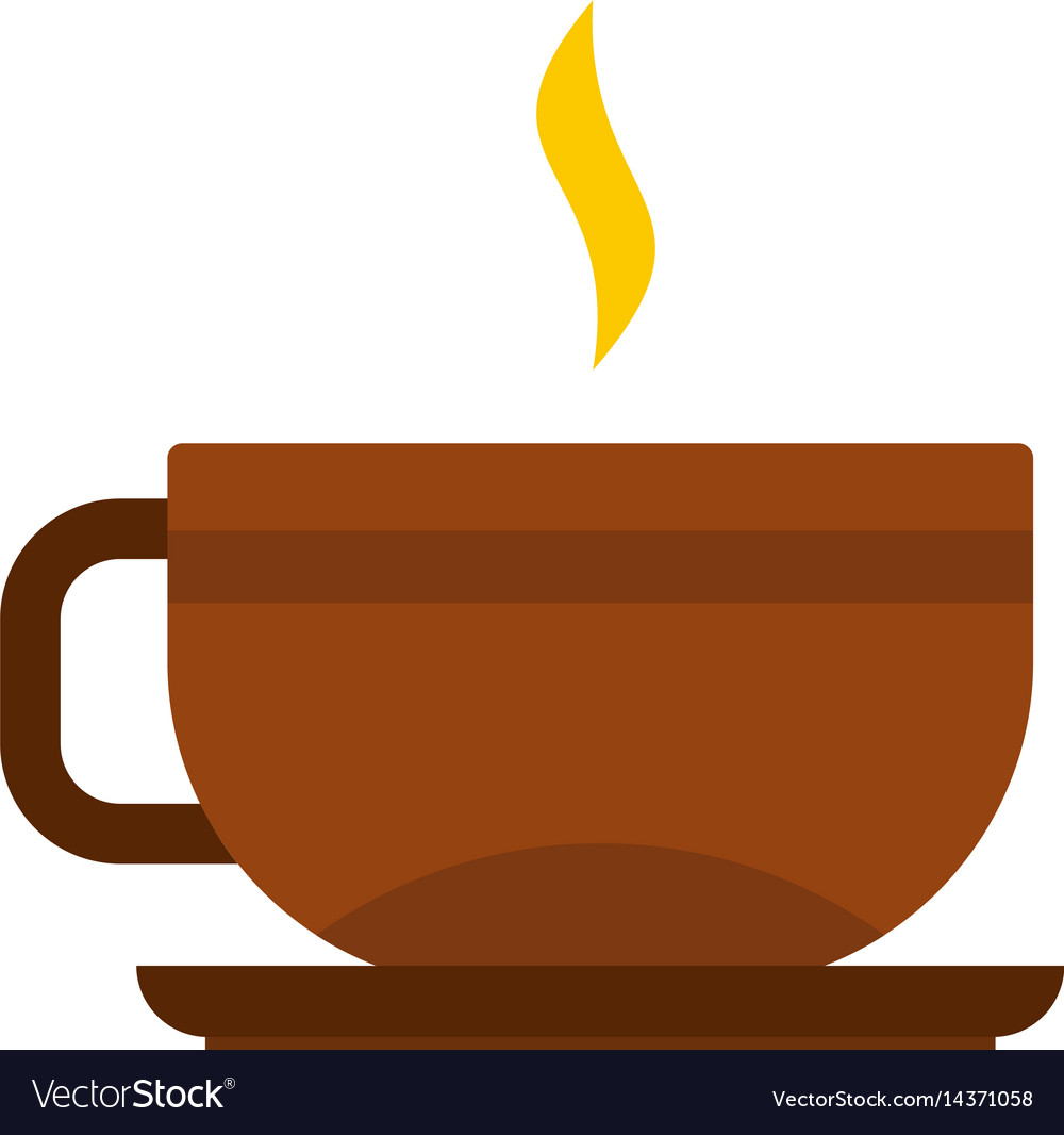 Brown tea cup and saucer icon isolated vector image