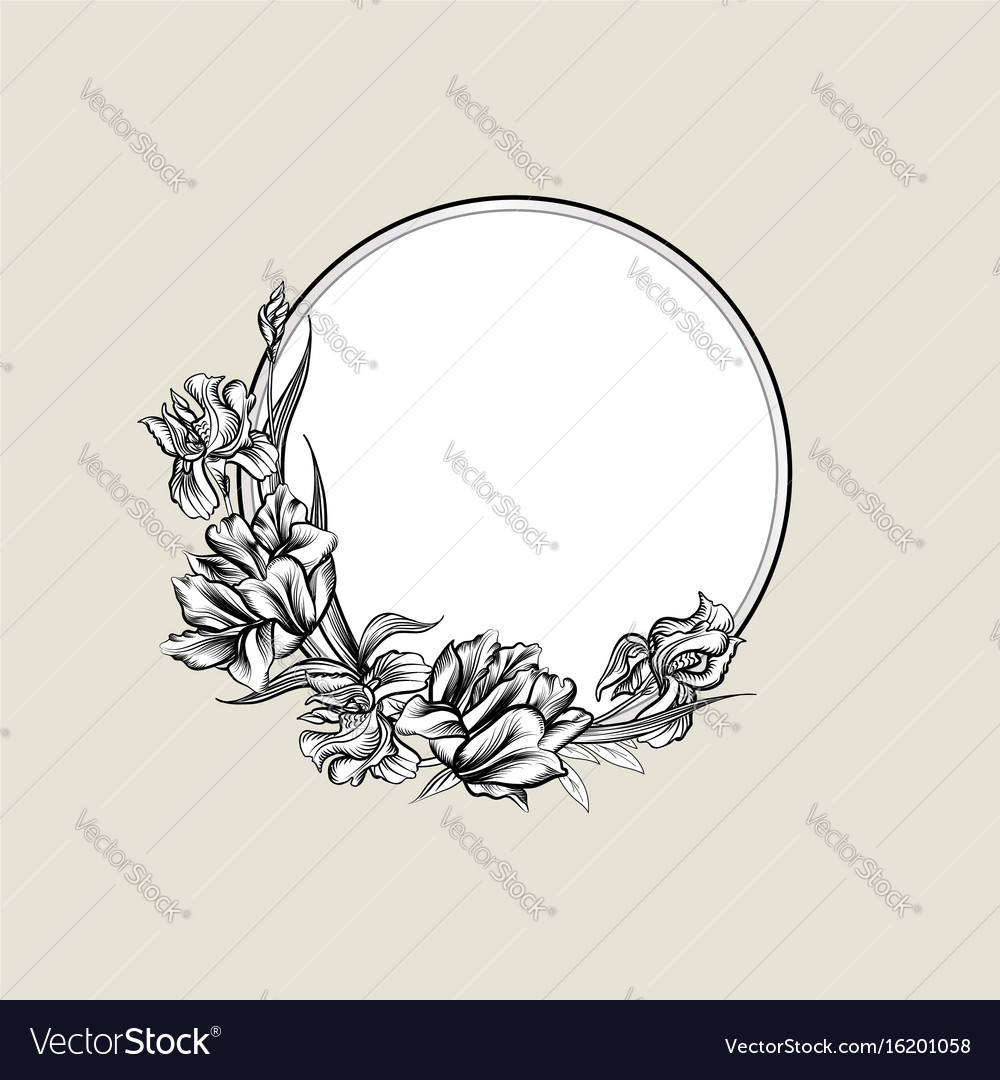 Floral frame background flower bouquet cover vector image