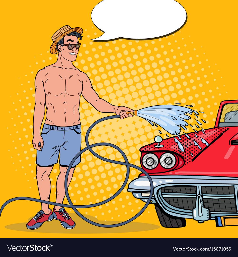 Pop art smiling man washing his classic car vector image