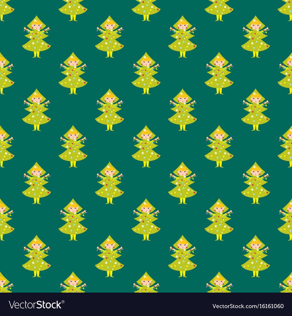 Cute pine tree kids wearing christmas costumes vector image