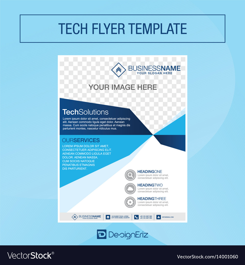 Tech flyer template vector image