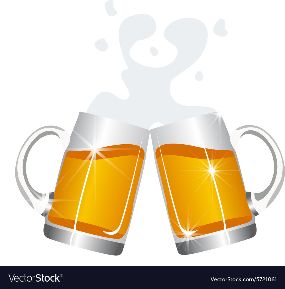 Beer mugs cheers vector image