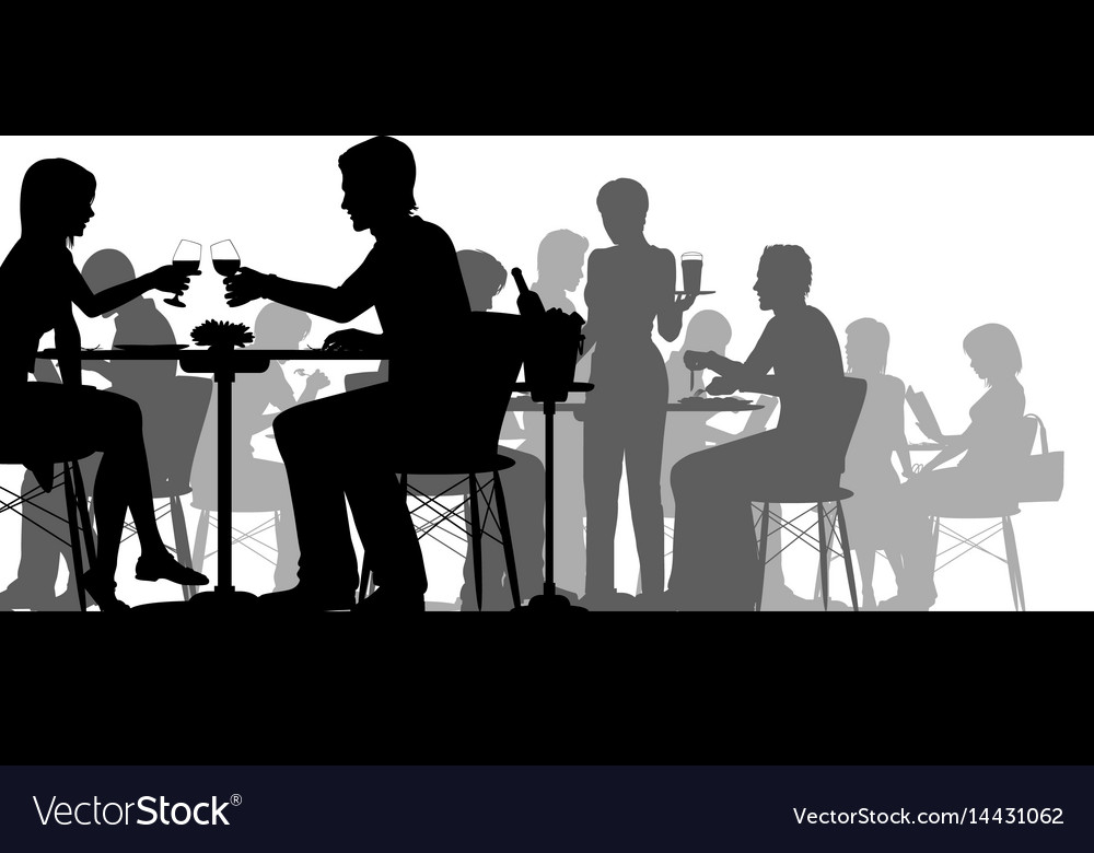 Busy restaurant silhouette vector image