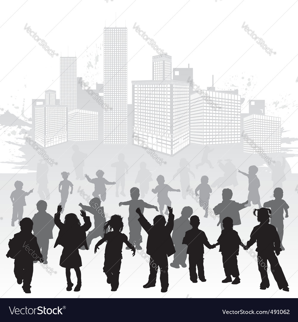 Collect child silhouettes vector image