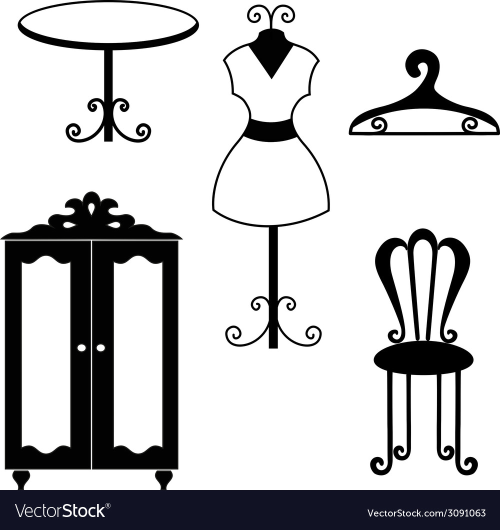 Antique furniture silhouettes vector image