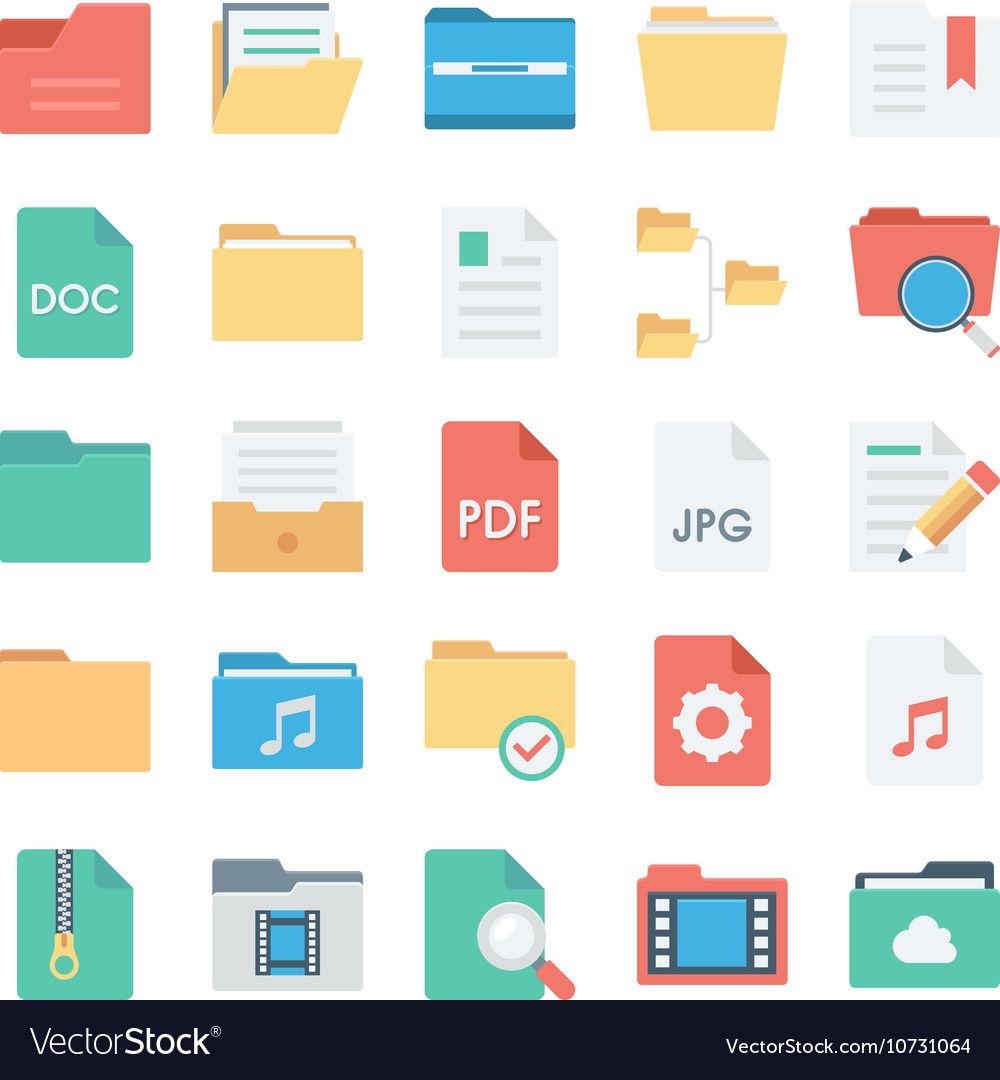 Files and Folders Icons 2 vector image